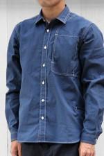 meanswhile[ミーンズワイル]コットンシャンブレーショルダーパッドワークシャツ MW-SH14202