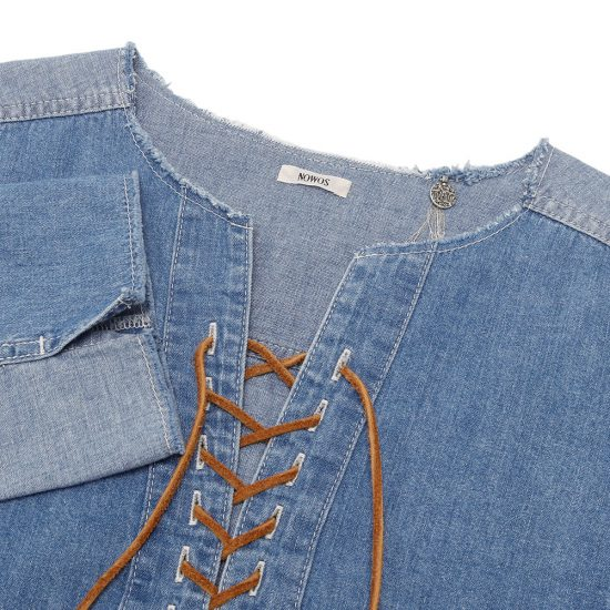 nowos[ノーウォス]denim lace up blouse 5203005517